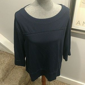 Chico's Size 3 Navy Boat Neck 3/4 Length Sleeves